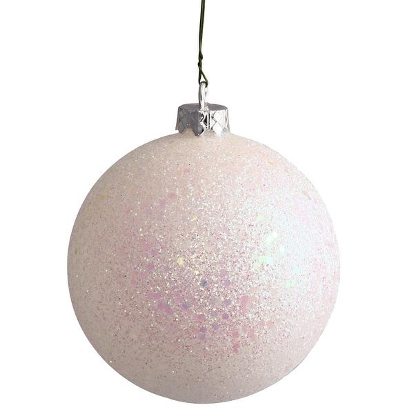 "4"" White Sequin Ball Drilled 6/Bag"