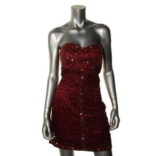 Jump Apparel Womens Juniors Glitter Prom Semi-Formal Dress - 3/4