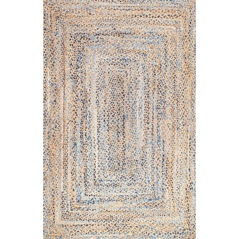 nuLOOM Handmade Braided Natural Fiber Jute Area Rug