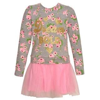 "Little Girls Blush Gold ""Dream Bold"" Floral Print Long Sleeved Dress"