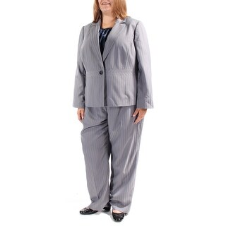 Womens Gray Striped Wear To Work Wide Leg Pant Suit Size 20