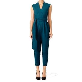 Tibi NEW Green Teal Women's Size 4 Kora U-Neck Pleated Jumpsuit