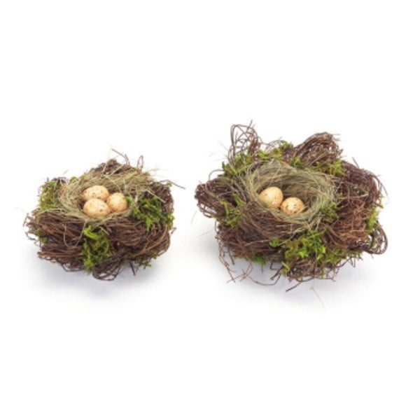 """Pack of 4 Beige and Brown Birds Nest with Egg Christmas Decorations 7"""""""