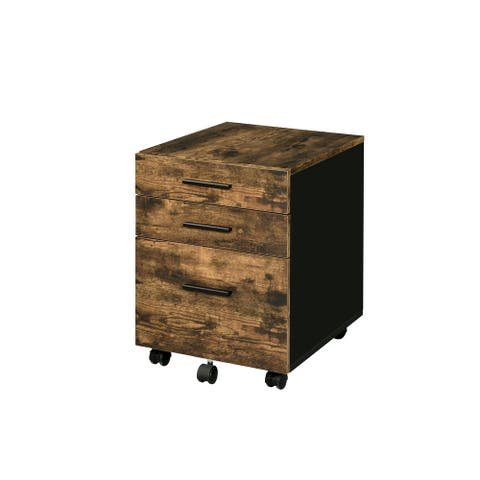 """22""""H Transitional File Cabinet with 3 Drawers & Casters, Weathered Oak"""