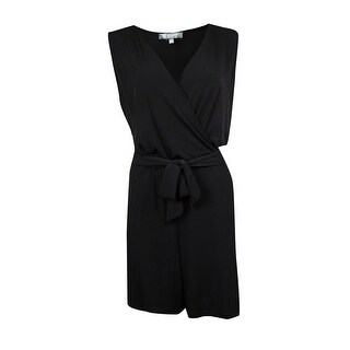 NY Collection Women's Belted Surplice Jersey Romper