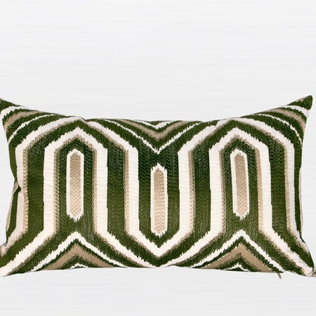 """G Home Collection Luxury Green Classical Geometry Pattern Embroidered Pillow 12""""X20"""""""