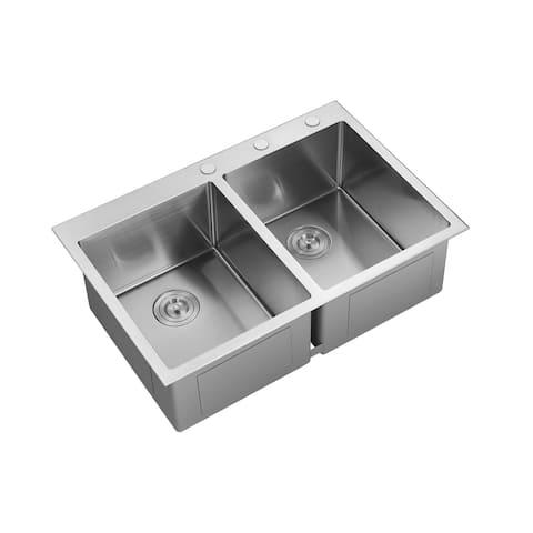 Aspen double-bowl Stainless Steel Kitchen Sink - 32x22