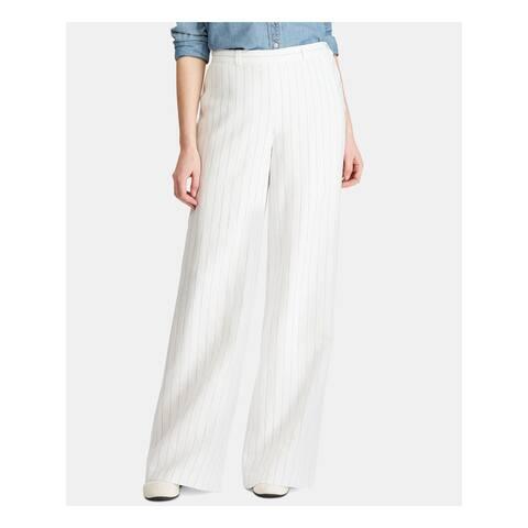 RALPH LAUREN Womens White Striped Wide Leg Pants Size 6