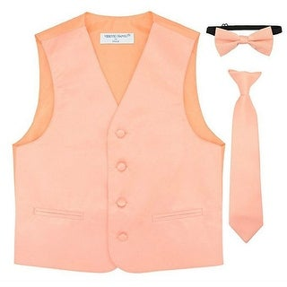 Little Boys Peach Vest Bow-tie Tie Special Occasion 3 Pcs Set