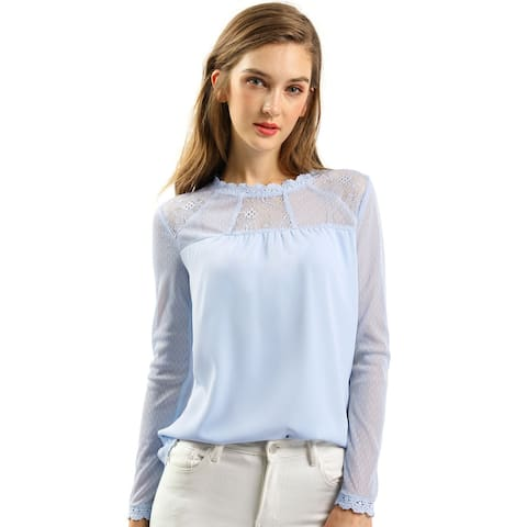 Women's Lace Floral Panel Long Sleeves Peasant Blouse Crew Neck Chiffon Top Shirt