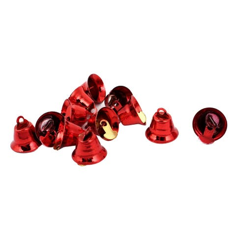 Unique Bargains 10 Pcs Metal 15mm Dia Christmas Tree Ring Bell Hanging Decoration Red