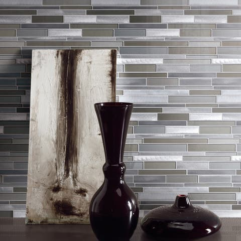 TileGen. Builder Value Glass Metal Mosaic Tile in Gray Wall Tile (10 sheets/9.7sqft.)