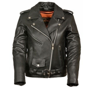 Womens Classic Leather Motorcycle Jacket