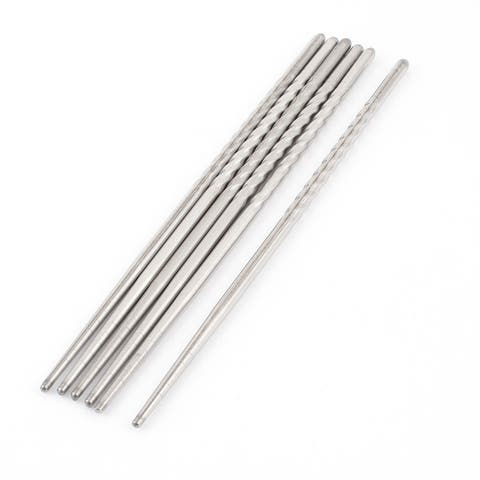 Unique Bargains Home Kitchen Stainless Steel Chopsticks Tableware Silver Tone 22cm Long 3 Pairs