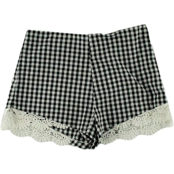 Aqua Womens Casual Shorts Crochet Trim Plaid