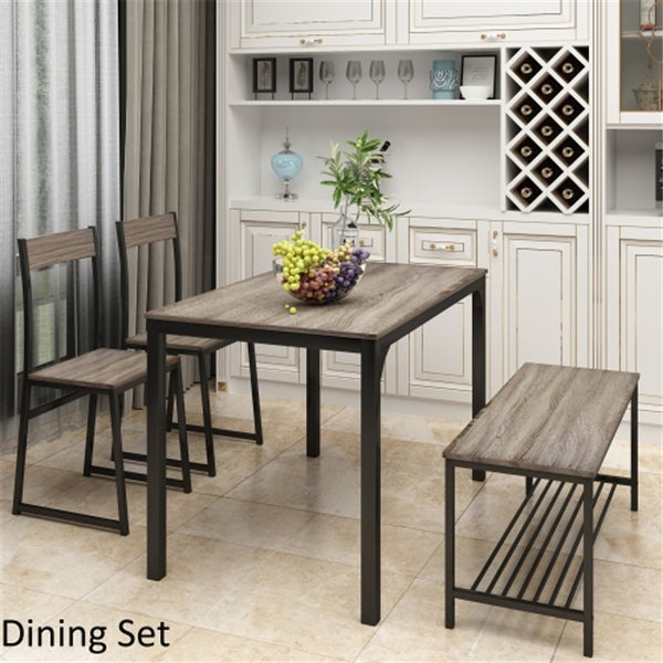 AOOLIVE 4-Pcs Dining Set with Kitchen Table,2 Chairs and Bench, Gray. Opens flyout.