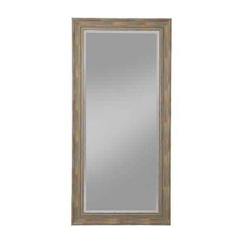 Farmhouse Style Full Length Leaner Mirror With Polystyrene Frame, Blue - 31 H x 2 W x 65 L Inches