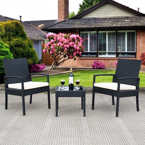 Costway 3 PS Outdoor Rattan Patio Furniture Set Backyard Garden Furniture Seat Cushioned