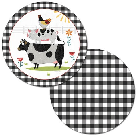 Reversible Wipe-clean Round Shaped Placemats Set of 4 - Farm Charm