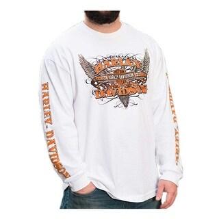 Harley-Davidson Men's Rise Up Winged B&S Long Sleeve Crew Neck Shirt, White