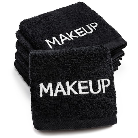 """Kaufman Makeup Removal Black Towels. Embroidery Towel, Size 13""""x 13"""""""