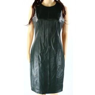 Lauren by Ralph Lauren NEW Green Women's Size 6 Pleather Sheath Dress