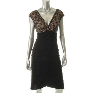 Jessica Howard Womens Petites Lace Overlay Sleeveless Evening Dress - 10P