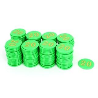 Unique Bargains Plastic Numbers 20 Pattern Poker Chips Green 160 Pcs w Case