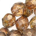 Czech Fire Polished Glass Beads 8mm 'Transparent Gold/Smoked Topaz' (25) - Thumbnail 0