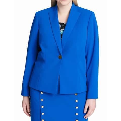 Calvin Klein Women's Jacket Blue Size 22W One-Button Blazer Crepe