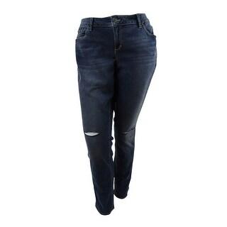 Slink Jeans Women's Trendy Plus Ripped Aya Wash Skinny Jeans