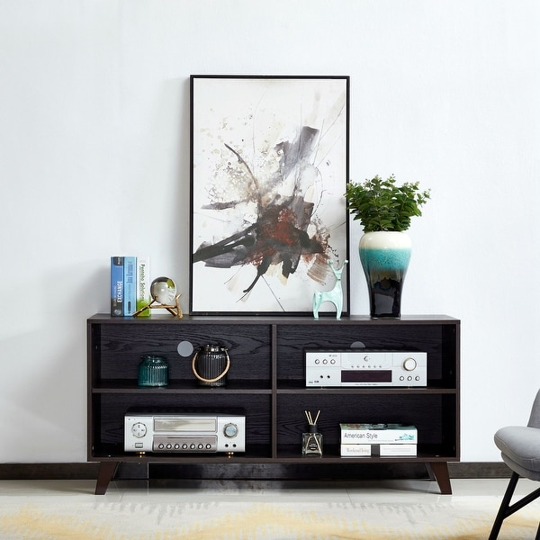 Transitional Wooden TV Stand with 4 Open Shelves. Opens flyout.