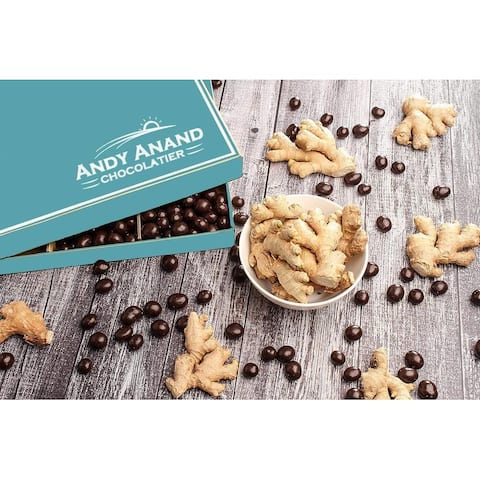 Andy Anand Chocolate California Dark Chocolate Covered Ginger 1 lbs Greeting Card For Birthday, Anniversary