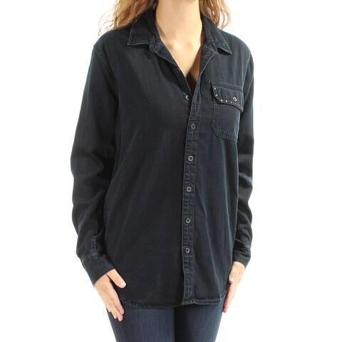LUCKY BRAND Womens Navy Embellished Cuffed Collared Button Up Top Size: XS