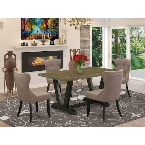 V676SI121-5 5-Pc Dining Set- 4 Dining Chairs with Blue Linen Fabric Seat and Button Tufted Chair Back