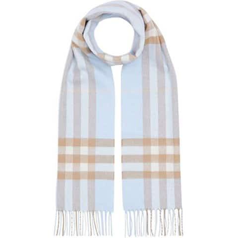 Burberry Uni Pale Blue Arctic Beige Check Cashmere Scarf