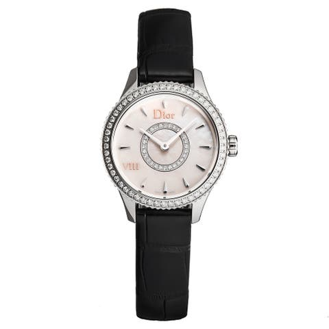 Christian Dior Women's CD151110A001 'Montaigne' Mother of Pearl Diamond Dial Diamond Bezel Leather Strap Swiss Quartz Watch