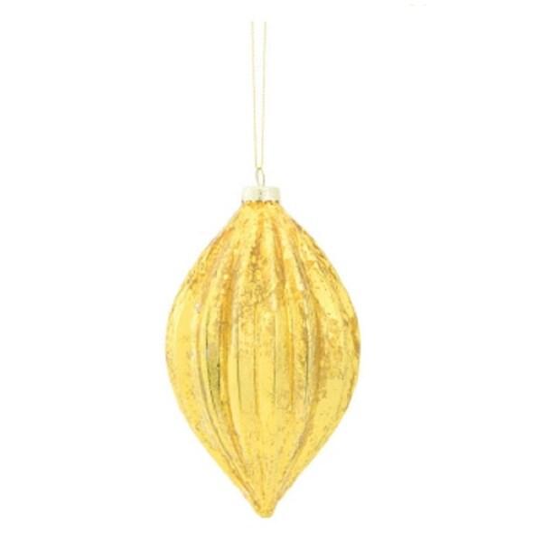 "6"" Amber Gold Rib Striped Mercury Glass Pendant Christmas Ornament"