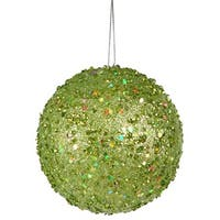 4.75 in. Fancy Green Apple Holographic Glitter Drenched Christmas