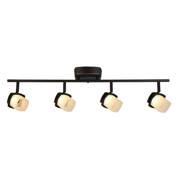 Eglo Hogan Ridge 4-Light Oil Rubbed Bronze LED Semi-Flush Mount Track Lighting with Frosted Glass. Opens flyout.