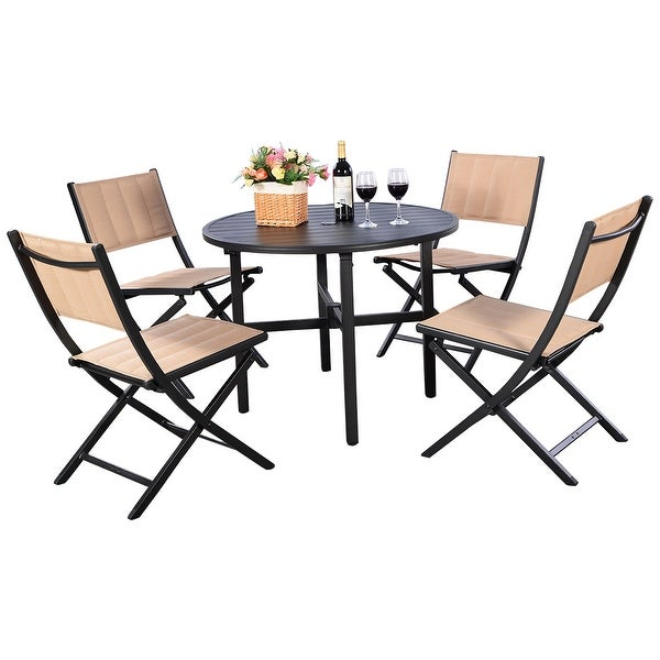 shop costway 5 pcs patio outdoor folding chairs table furniture set
