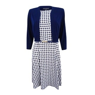 Jessica Howard Women's Petite Printed Dress and Bolero Jacket (10P, Navy) - Navy - 10P