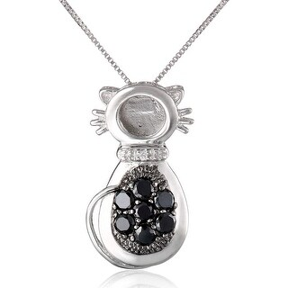 Black White Cat Pendant With Cubic Zirconia In Sterling Silver 18