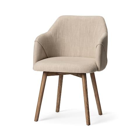 Mercana Ronald II Cream Fabric Wrap Brown Wooden Base Dining Chair