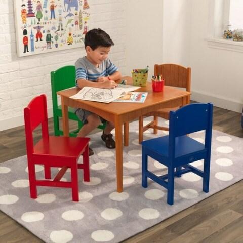 KidKraft: Nantucket Honey Table & 4 Primary Chairs