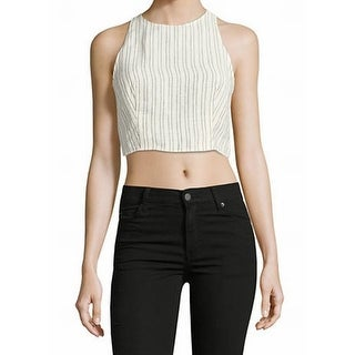 Theory NEW White Women's Size Large L Striped Cropped Tank Cami Top