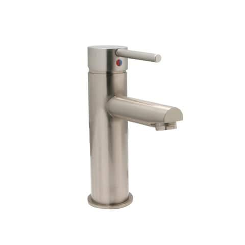 Tall Euro Single Hole Bathroom Faucet, PVD Satin Nickel Finish - Single Hole