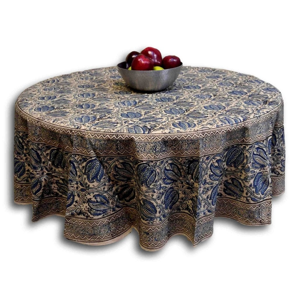Handmade Vegetable Dye Block Print Cotton Tablecloth Rectangular 60x90  Inches 60x60 Square 72 Inch Round Napkins ...