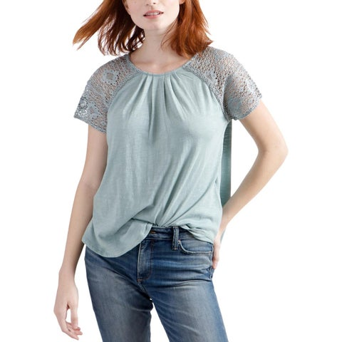 Lucky Brand Womens T-Shirt Lace Trim Short Sleeves