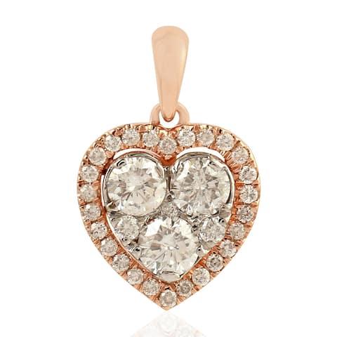 18kt Rose Gold Diamond Heart Charm Jewelry By Artisan